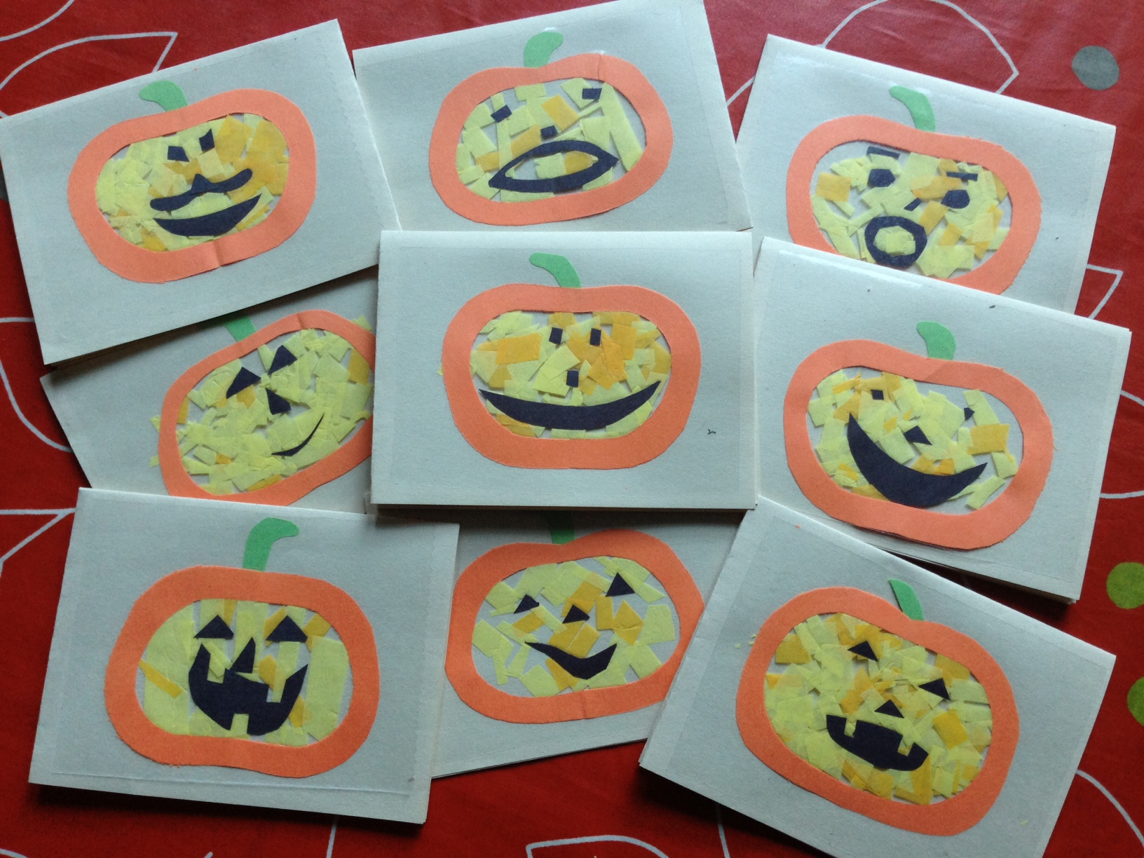 Halloween Tissue Paper Pumpkin Cards